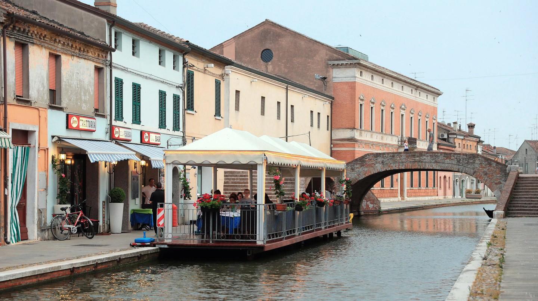 The Migliarino Canal in Comacchio Village, Ferrara, Italy