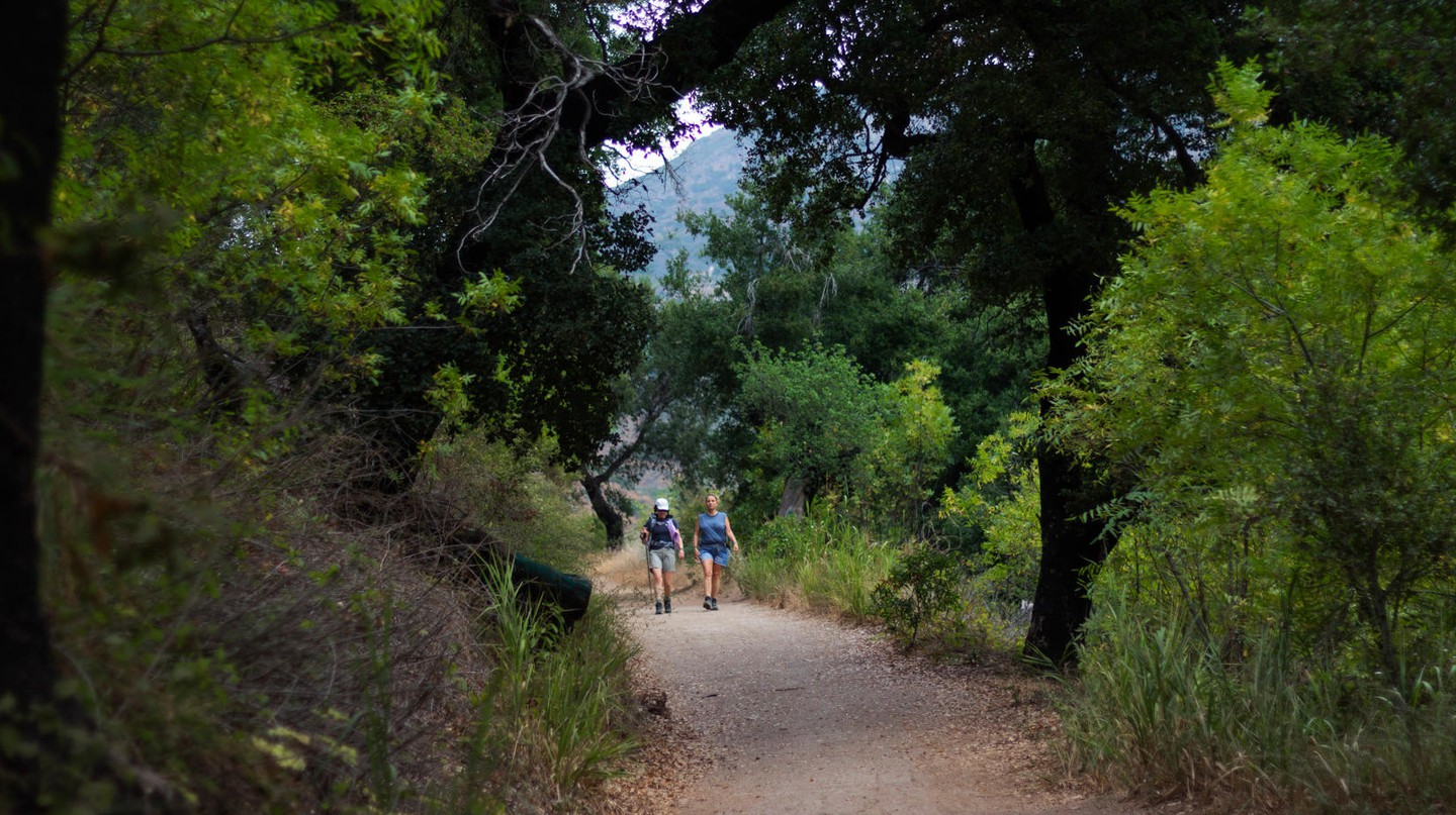 Hikers stretch their legs in Solstice Canyon