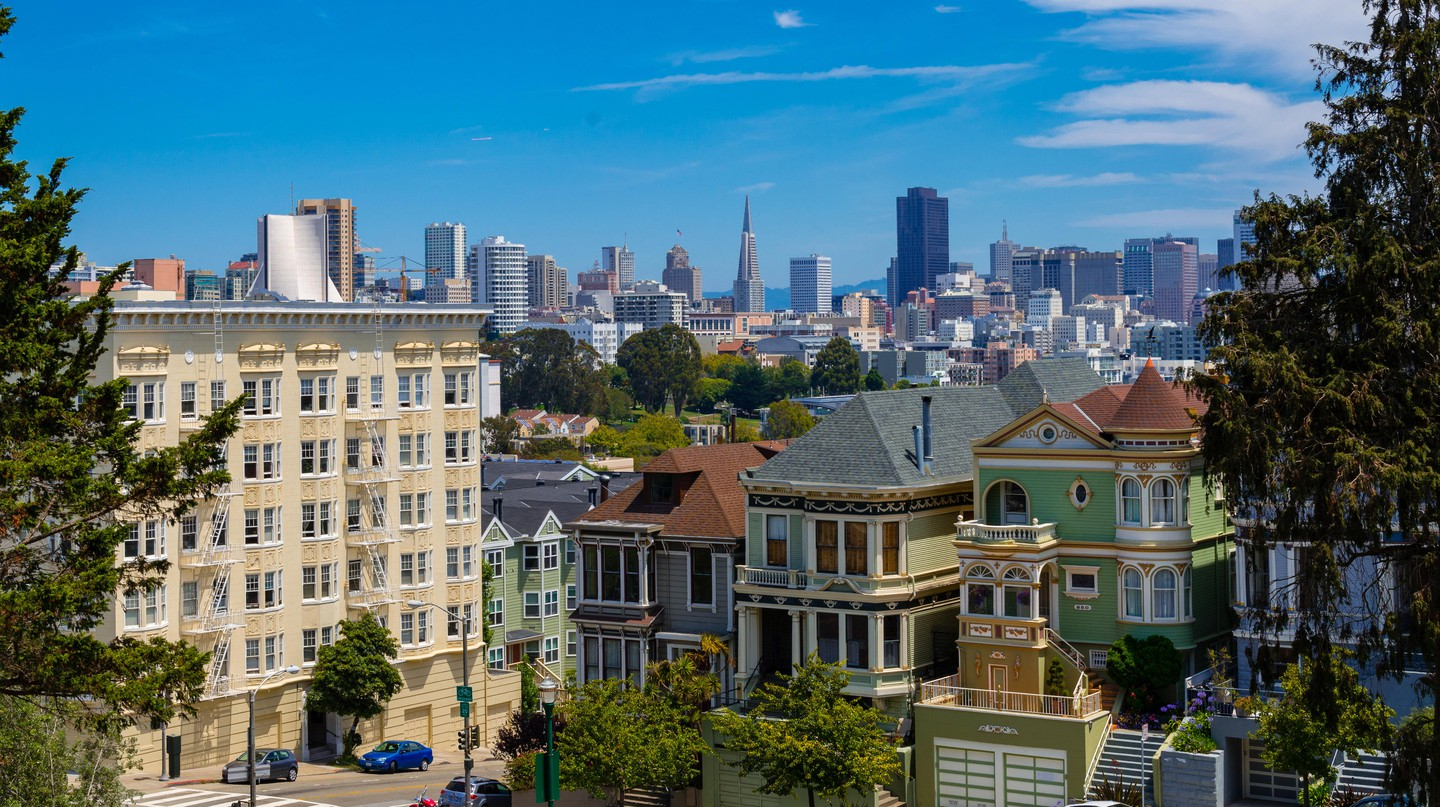 The painted Ladies in Steiner Street facing Alamo Square, San Francisco.