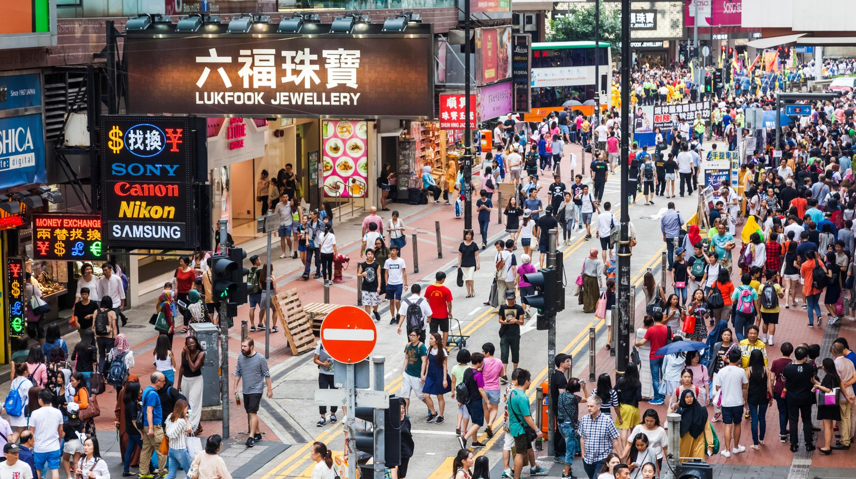 Crowds of shoppers in Hong Kong's Causeway Bay