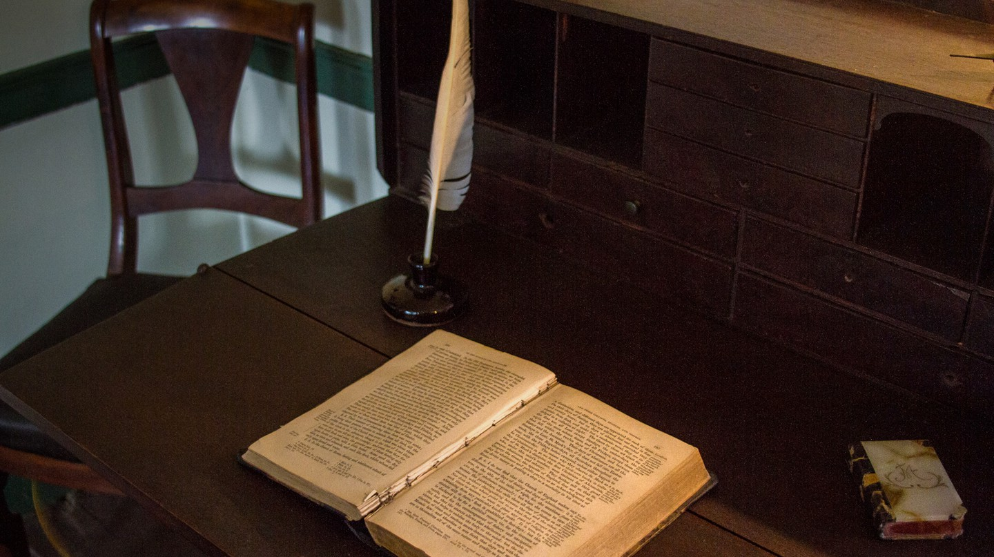 This writing desk stands in the Edgar Allan Poe Cottage in the Bronx