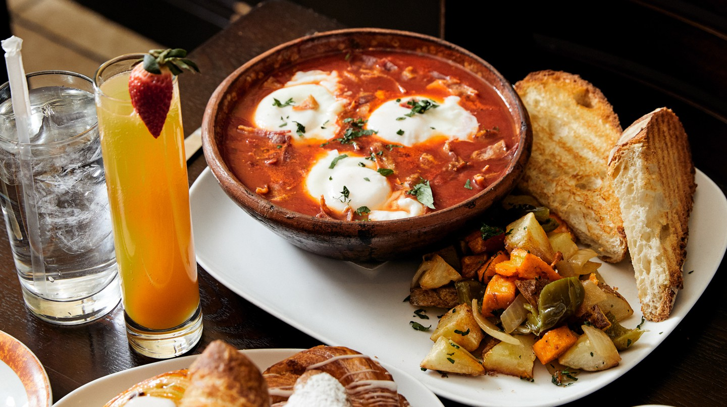French pastries are paired with stewed tomatoes and eggs at Bruno's Bakery