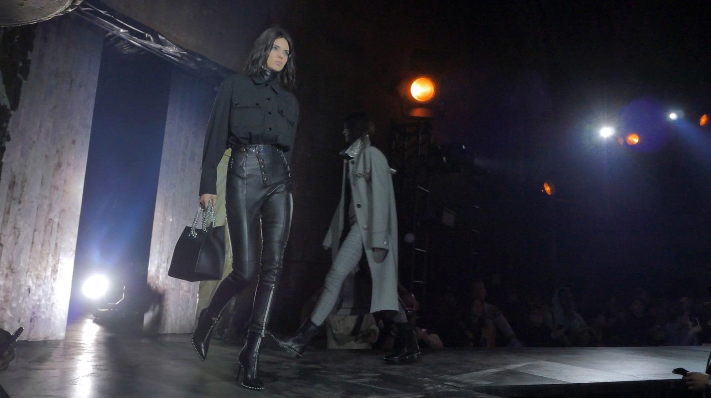 Kendall Jenner contributes to the Alexander Wang show, fall/winter 2017, New York Fashion Week