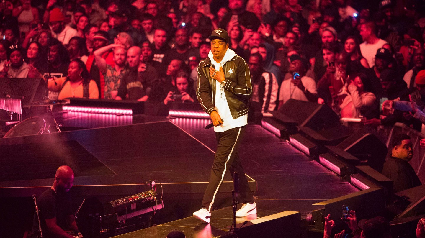 Jay-Z performs at Barclays Center in Brooklyn, New York