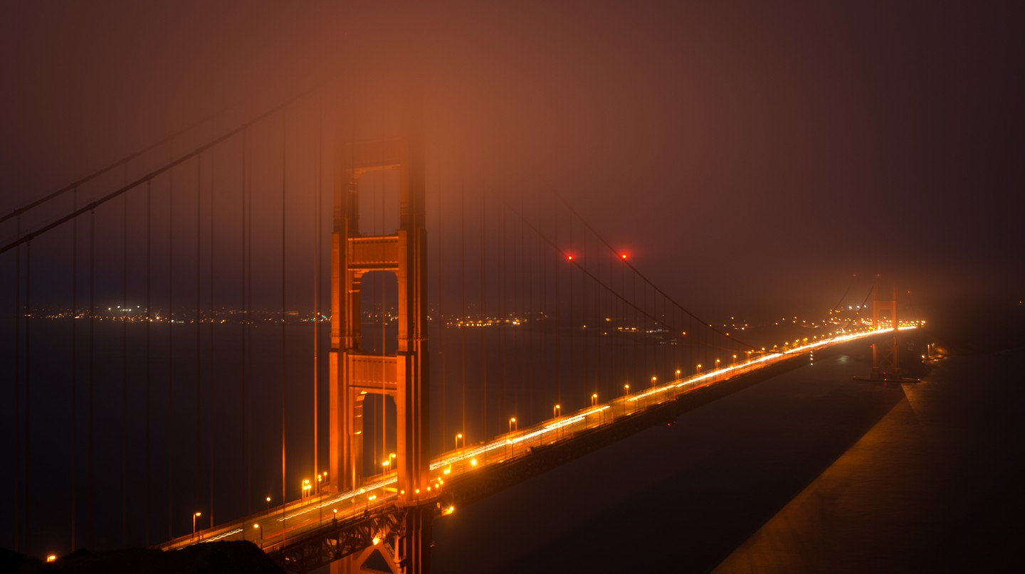 Golden Gate Bridge at night in San Francisco, California, USA.