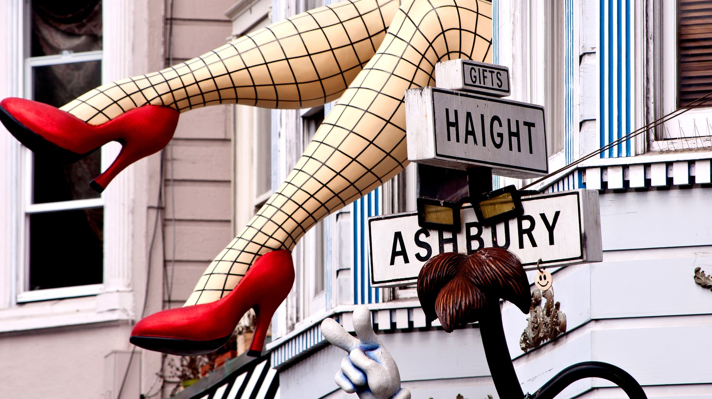 The pair of legs on the facade of Piedmont Boutique in Haight-Ashbury, San Francisco, is eye-catching