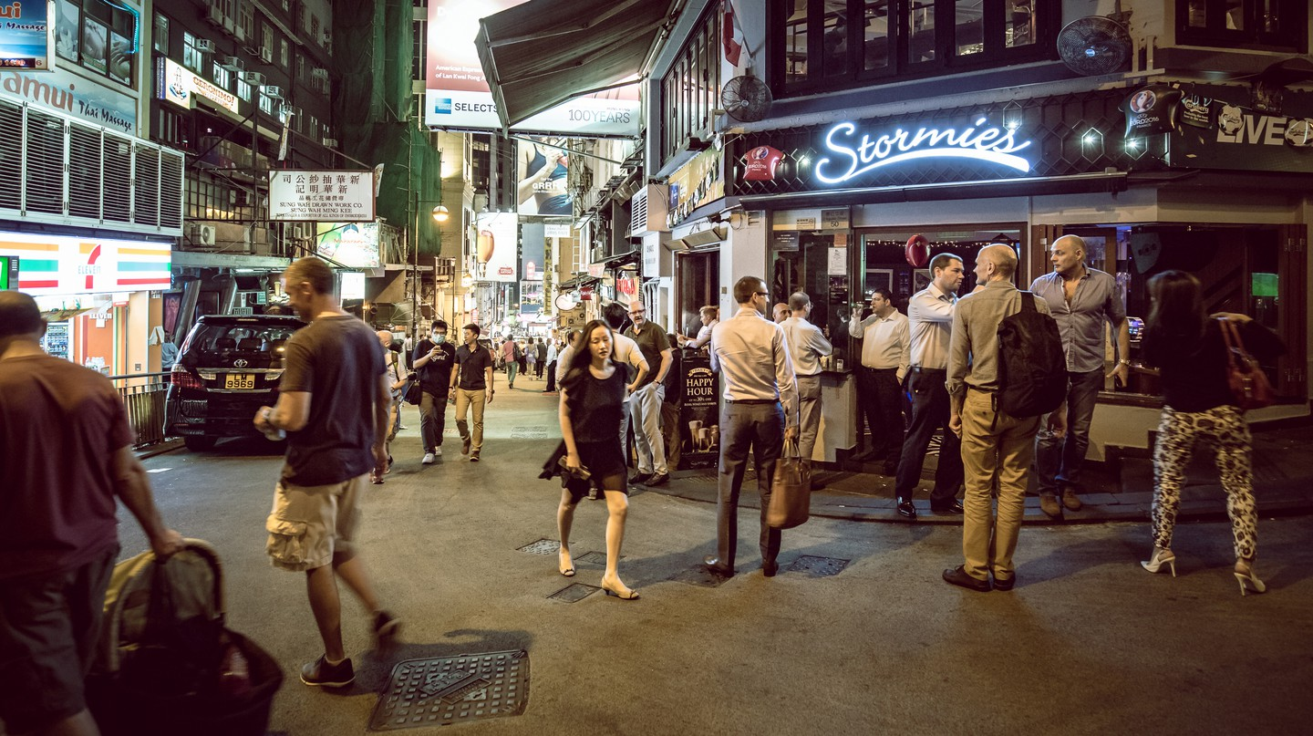 People are out and about in Hong Kong's nightlife hotspot, Lan Kwai Fong