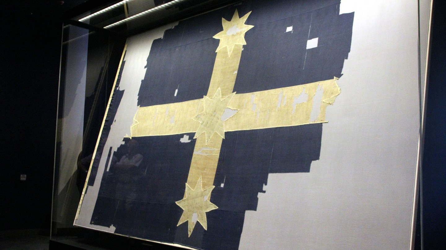 The original Eureka flag hoisted during the rebellion on display in Ballarat