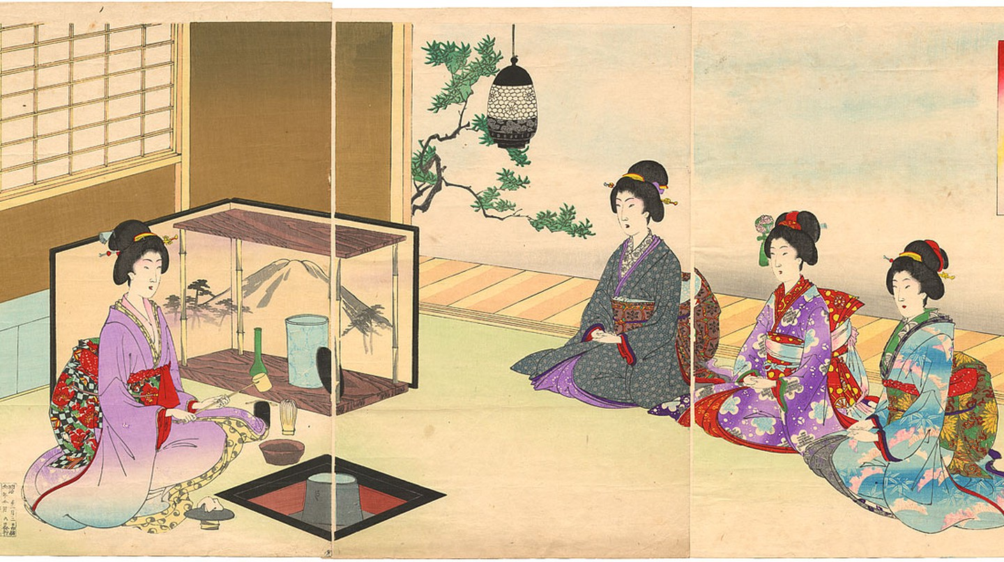 Guests are seated to receive tea in this 1895 print by Yoshu Chikanobu
