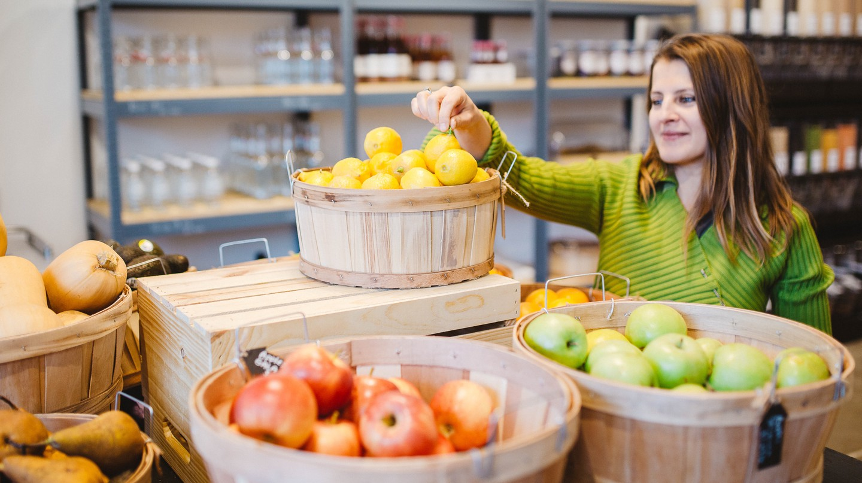 Precycle founder Katerina Bogatireva shows off some produce