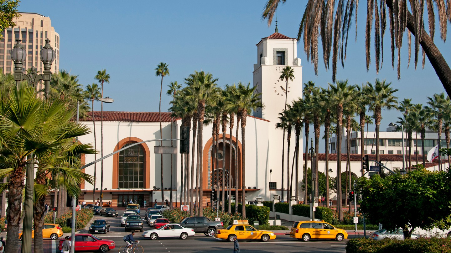 Traffic surrounds the Union Station in Downtown Los Angeles