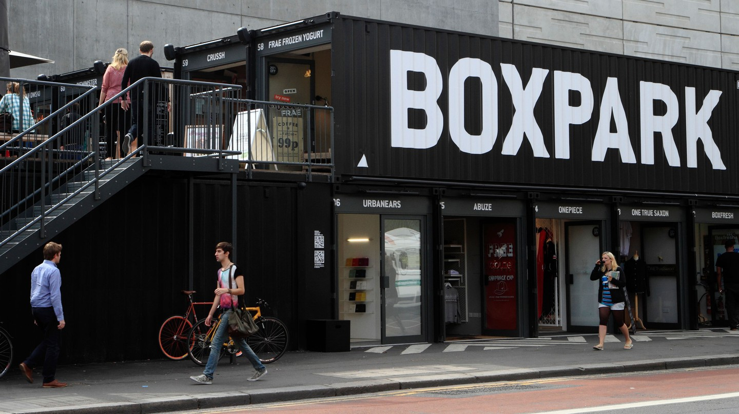 Boxpark, Shoreditch, London, is the first pop-up mall in the world