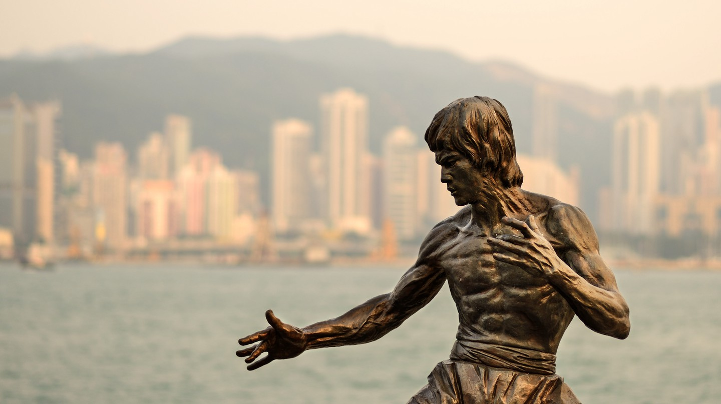 Bruce Lee monument at the Avenue of the Stars in Hong Kong