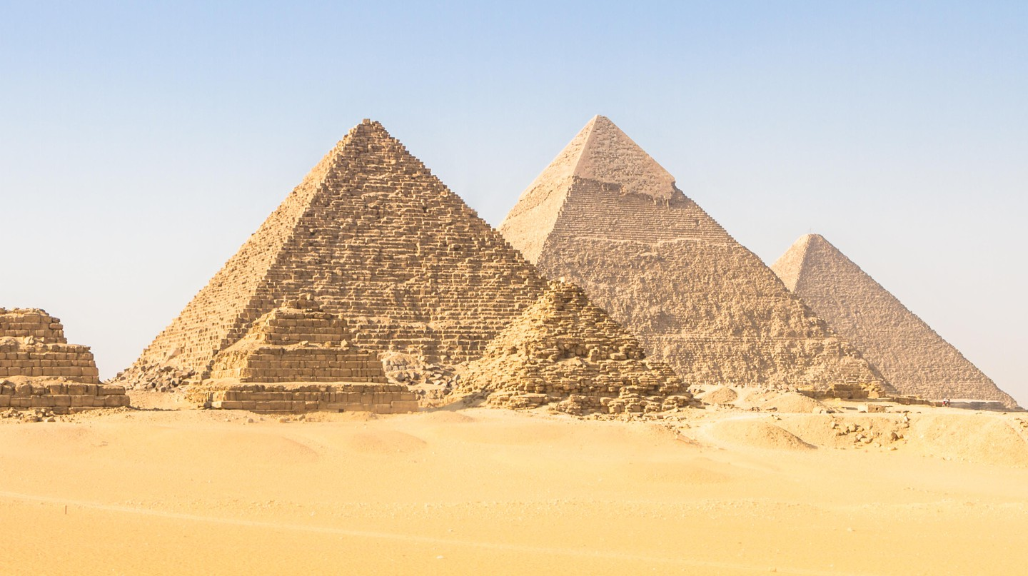 Great pyramids in Giza valley, Egypt