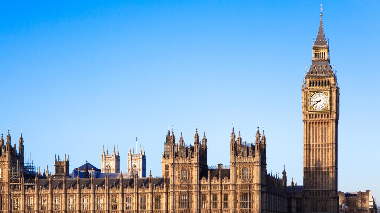 Big Ben stands against a typically blue English sky
