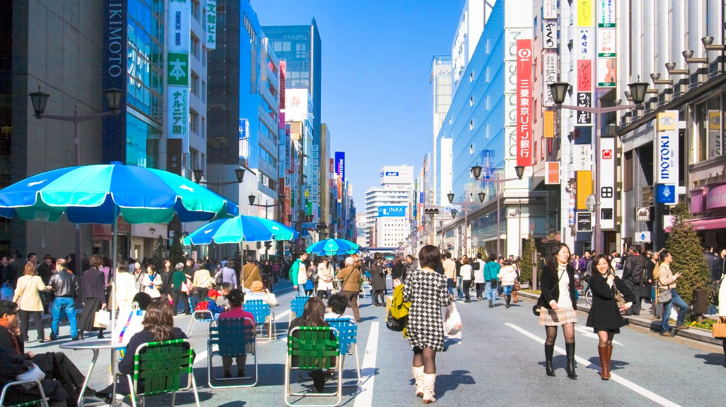 Ginza's most prominent shopping street is the Chuo-dori