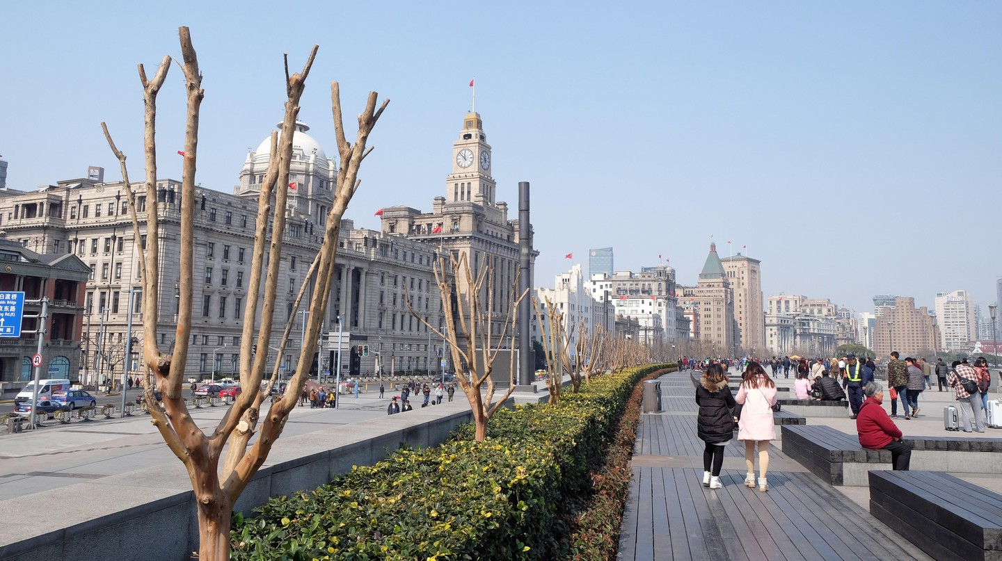 People take in the views of Shanghai, China