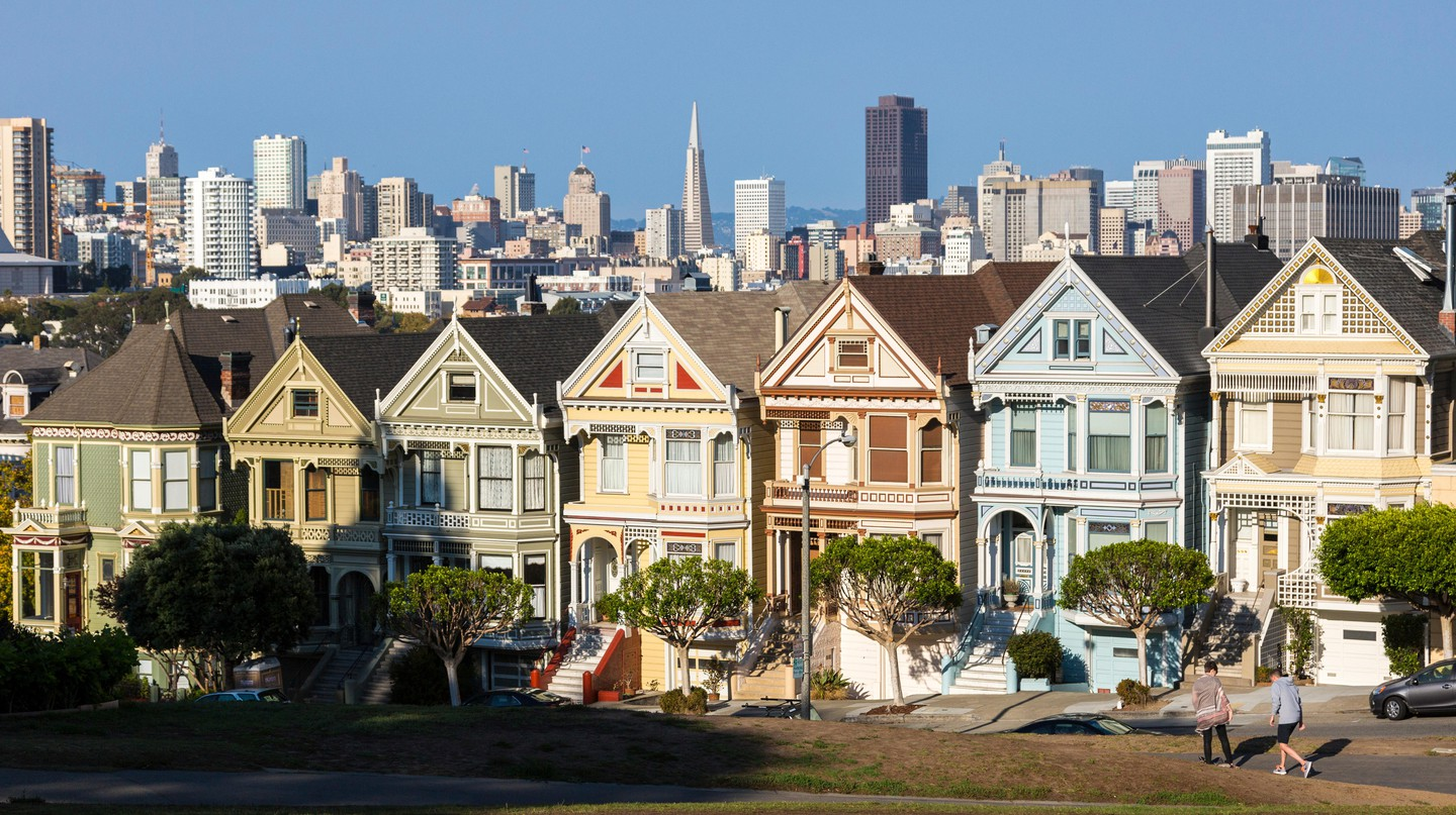 The Painted Ladies shine in Haight-Ashbury, San Francisco