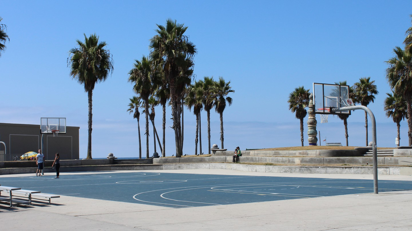 Basketball court on Venice beach, California