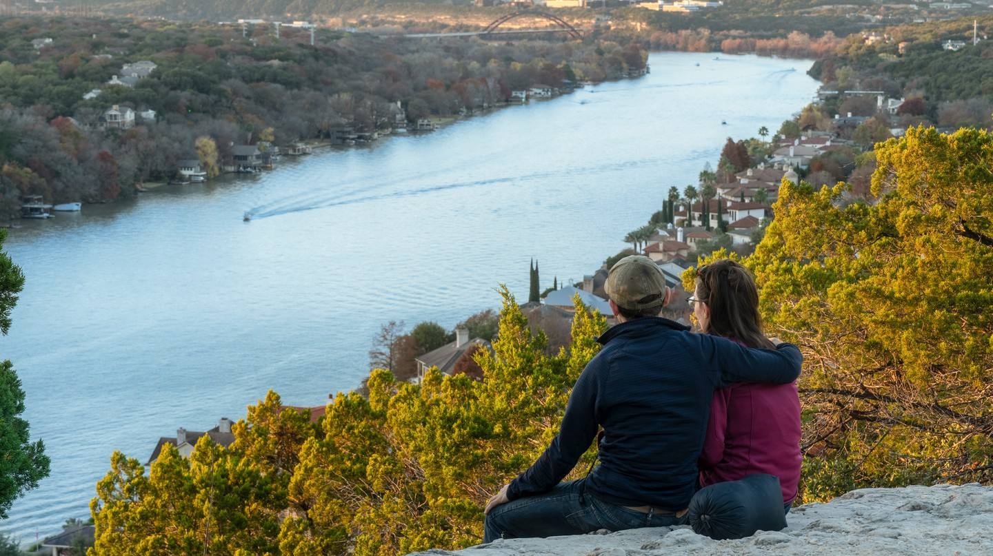 Catching Sunset in Austin, Texas at Mount Bonnell overlooking the river