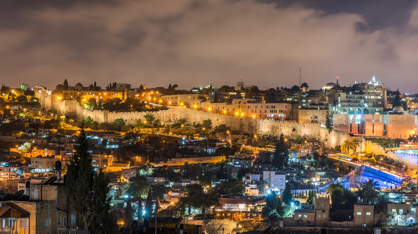 Night view of cityscape of Jerusalem, Israel.