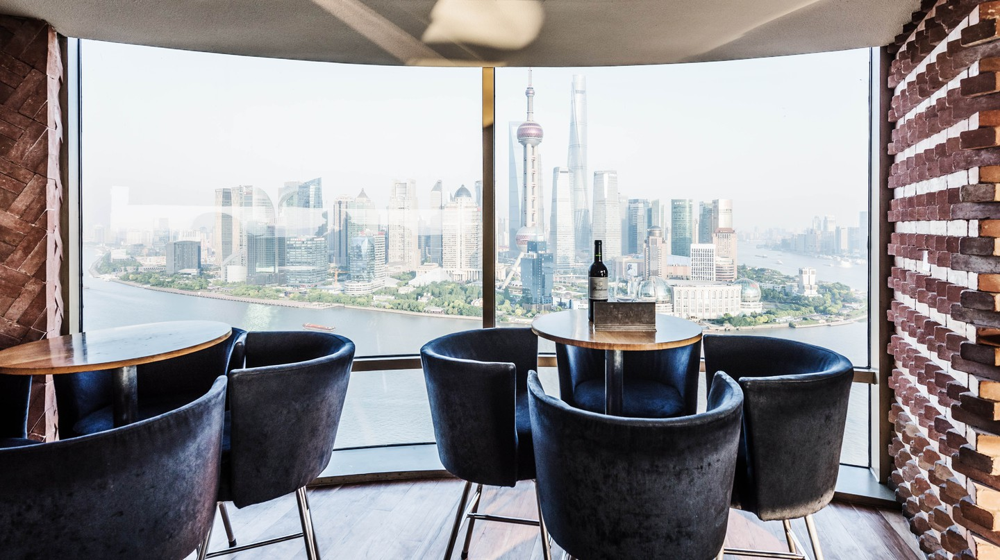 The rooftop bar of the Hyatt on the Bund offers views of the Huangpu River