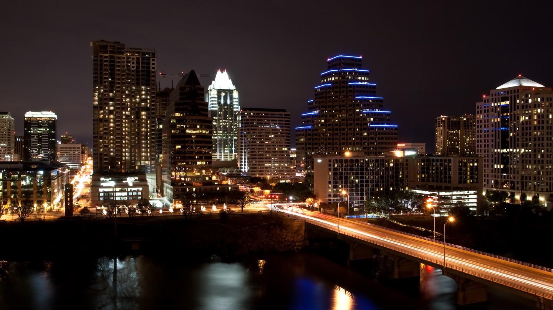 Downtown Austin glows at night