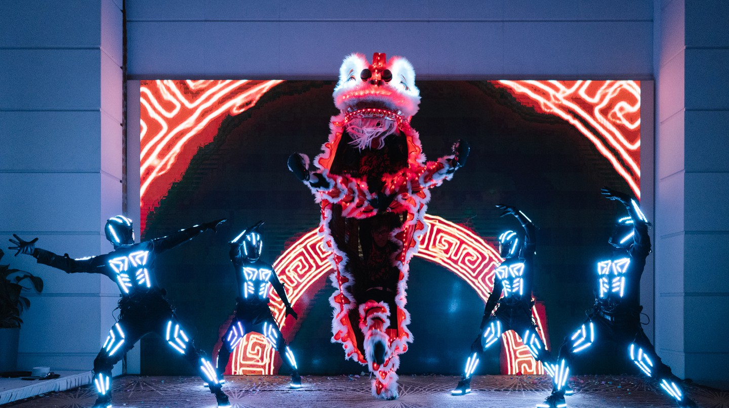 Lion dancing lights up a stage