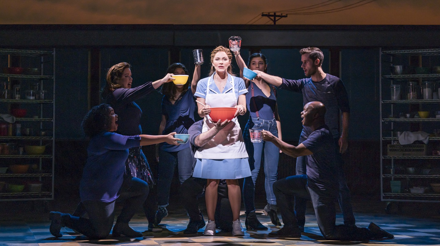 The cast of 'Waitress' performs at The Adelphi Theatre, London