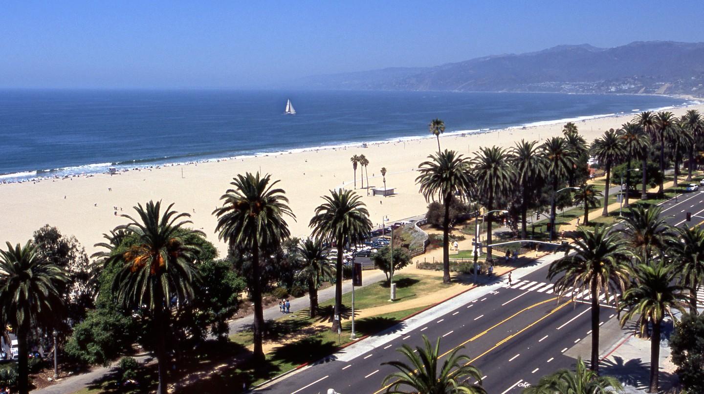 View of Santa Monica Beach, California, USA.
