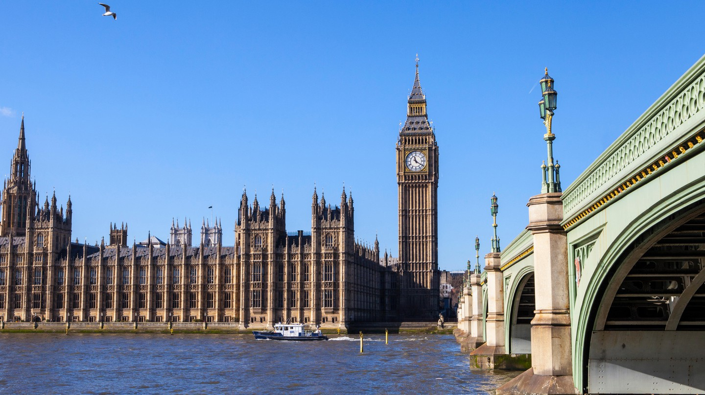 View of the Houses of Parliament and Westminster Bridge in London