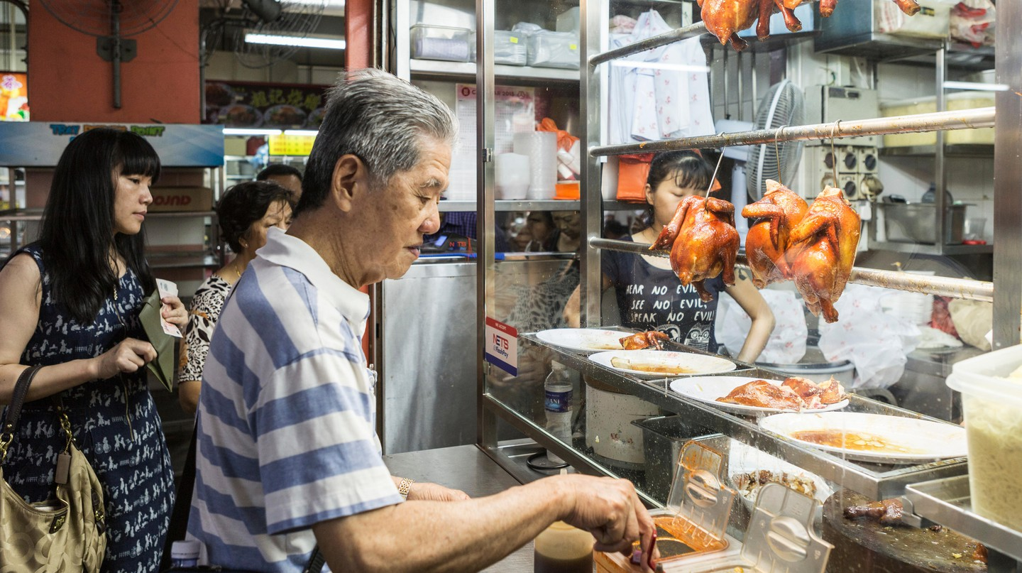 Michelin starred Hong Kong Soya Sauce Chicken Rice and Noodle stall in, China Town Complex, Singapore
