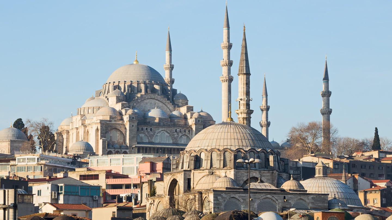 Rüstem Paşa Mosque and Süleymaniye Mosque rise above the Istanbul skyline