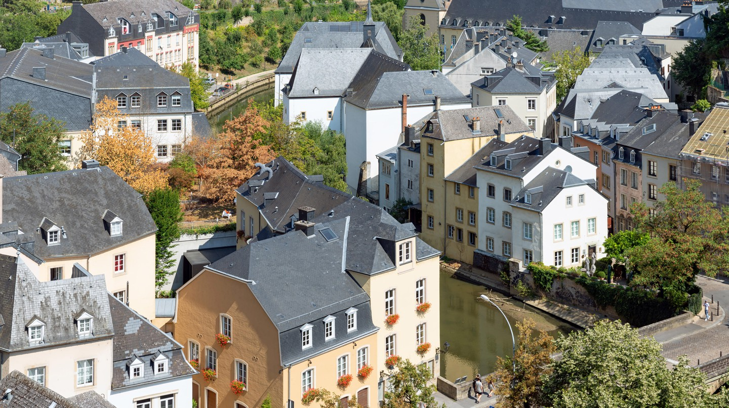 Aerial view of the Old Town and Grund, Luxembourg