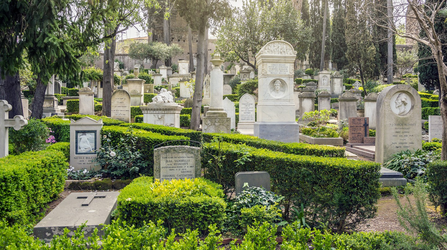 The Cimitero Acattolico in Rome is the resting place of English poets John Keats and Percy Bysshe Shelley