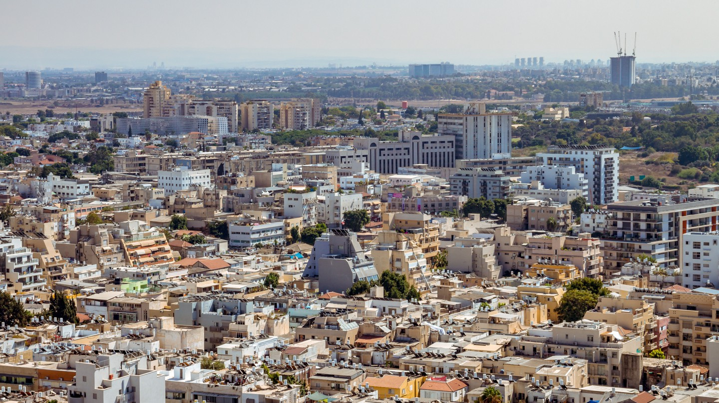 Aerial view of south Tel Aviv neighbourhoods with a combination of new and old construction.
