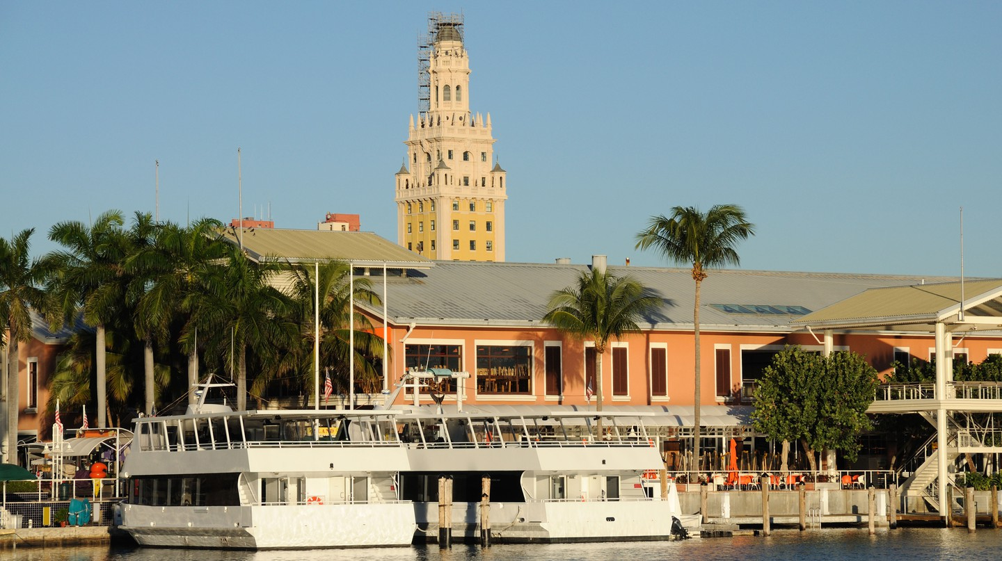 The Freedom Tower, in the background, once served as a reception center for Cuban refugees