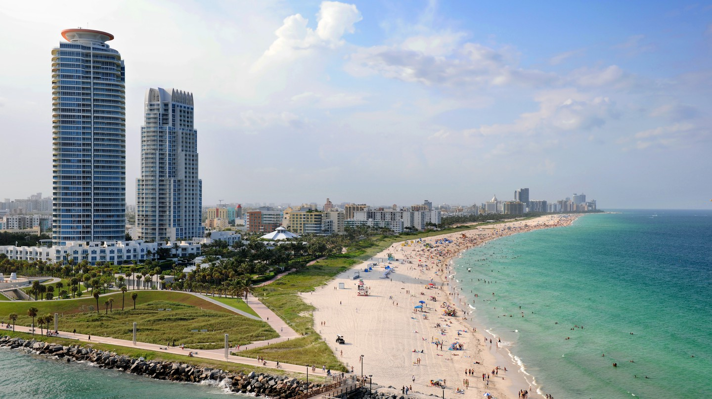 Aerial view of South Miami Beach, Florida, USA.