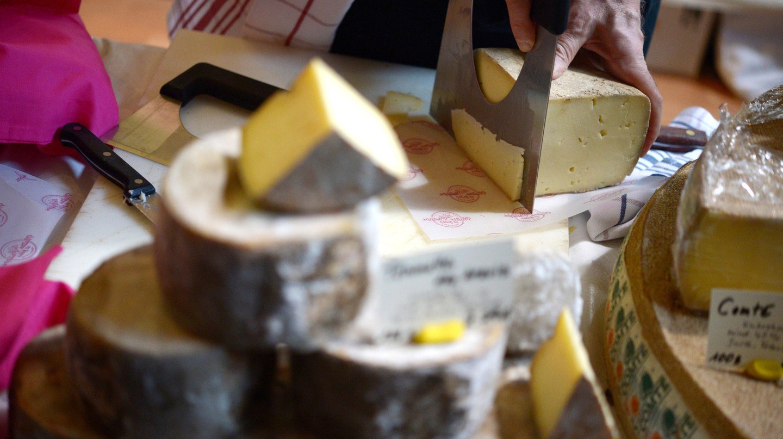 Cheeses on display at Cheese Berlin, Markthalle Neun