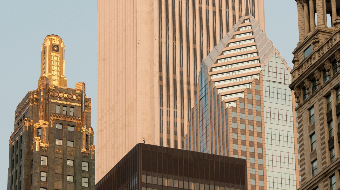 The lavish Carbide and Carbon Building stands on Michigan Avenue