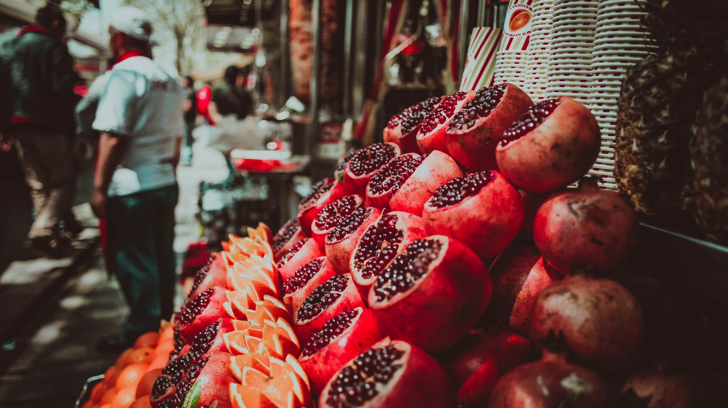 Freshly squeezed pomegranate juice is one of the many tastes of Istanbul