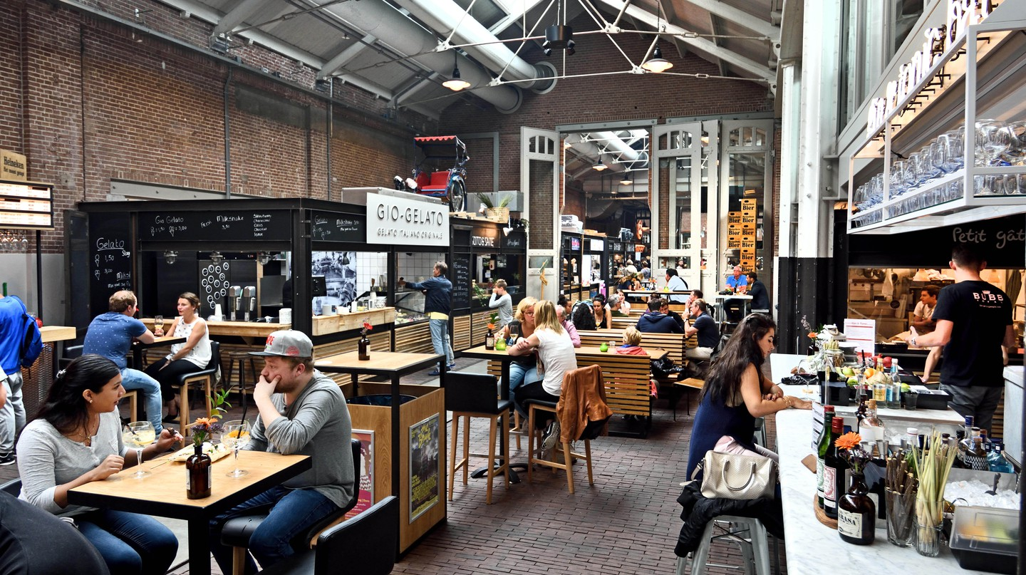 Foodhallen in Amsterdam's Oud-West is a good spot for cheap eats