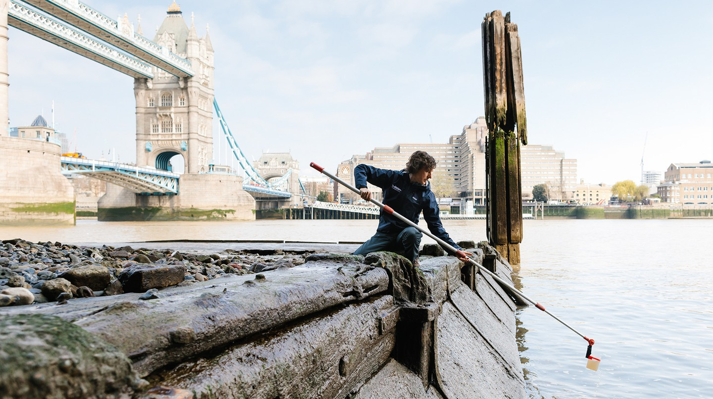 Finn Beales shoots Theo Thomas, CEO of London Waterkeeper, at Tower Bridge, a favourite London location of his