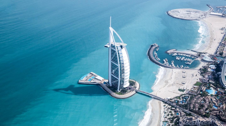 Aerial view of Burj Al Arab luxury hotel