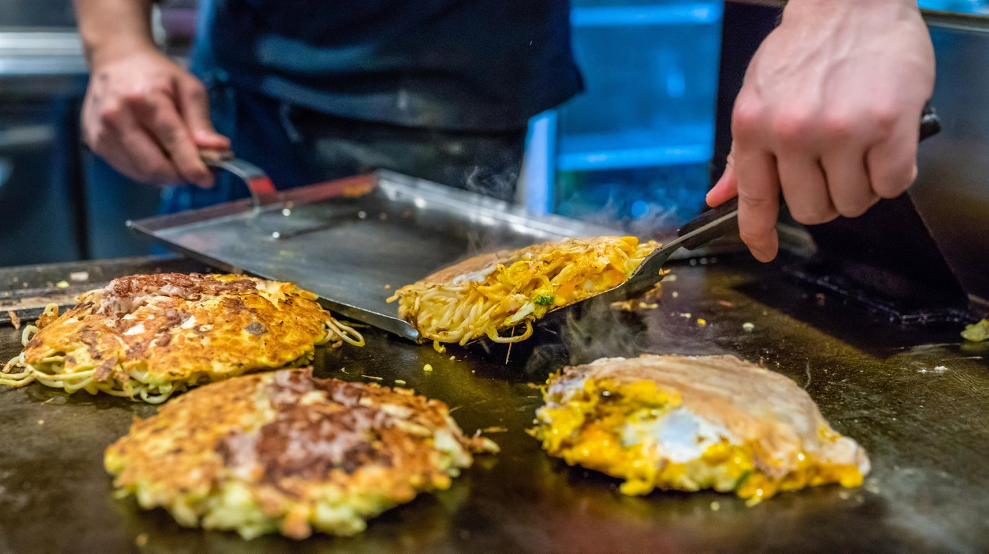 Osaka-style okonomiyaki is a favourite throughout Japan