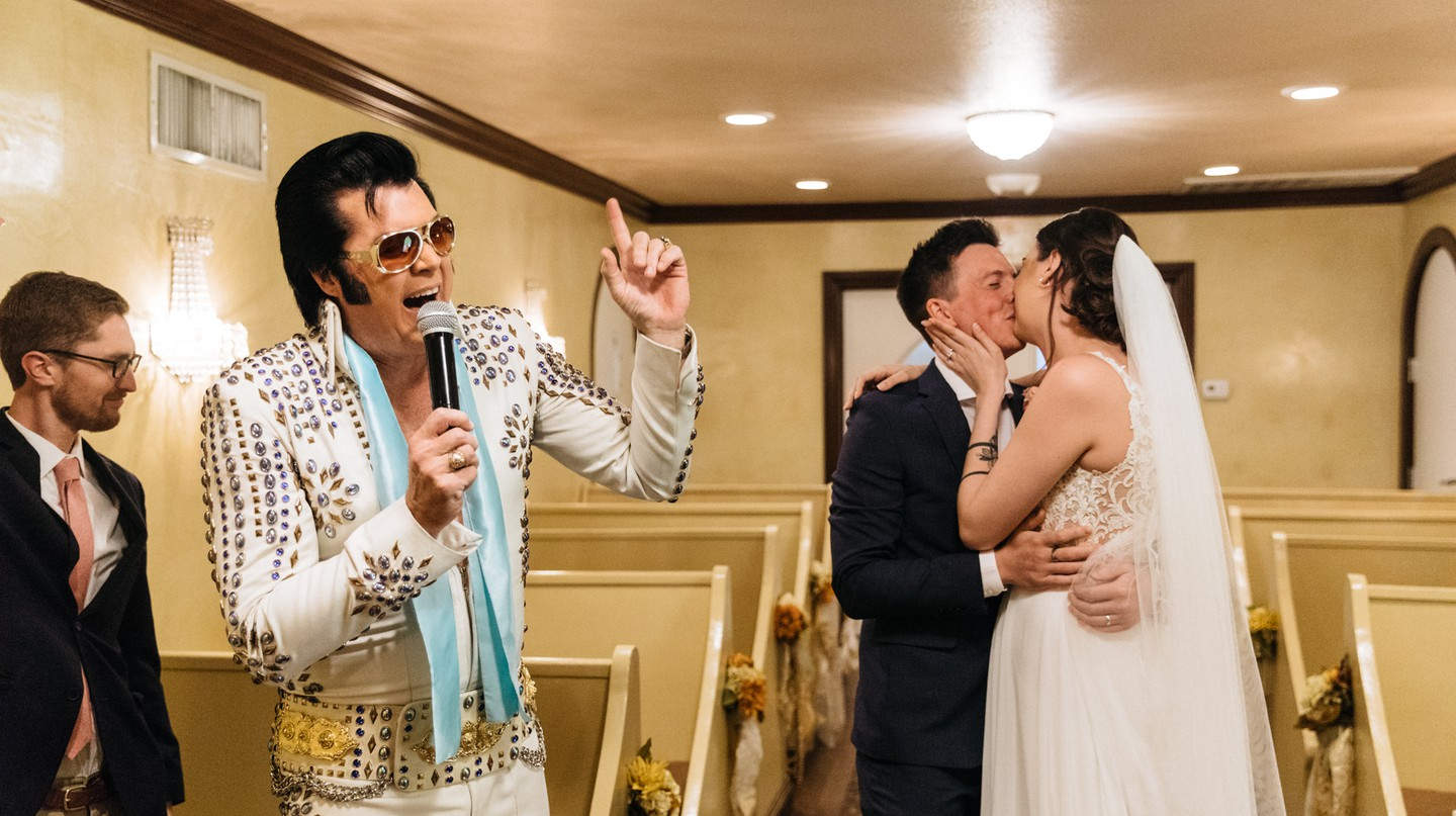 Elvis and weddings are two Vegas classics that come together at the Graceland Wedding Chapel