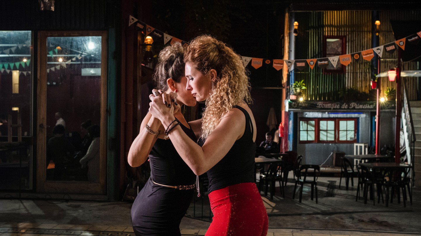 Liliana Chenlo dancing Argentinian Tango with her dance partner, Buenos Aires, Argentina