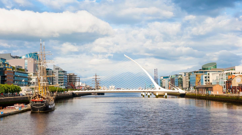 Samuel Beckett Bridge over the Liffey in Dublin, Ireland