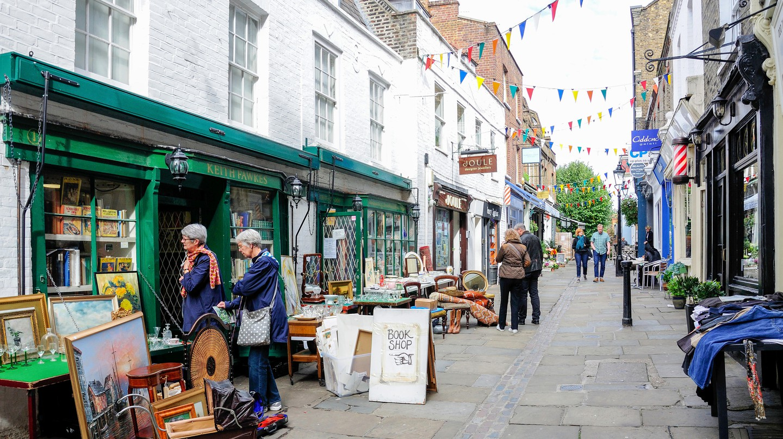 Antique shops line Flask Walk in Hampstead