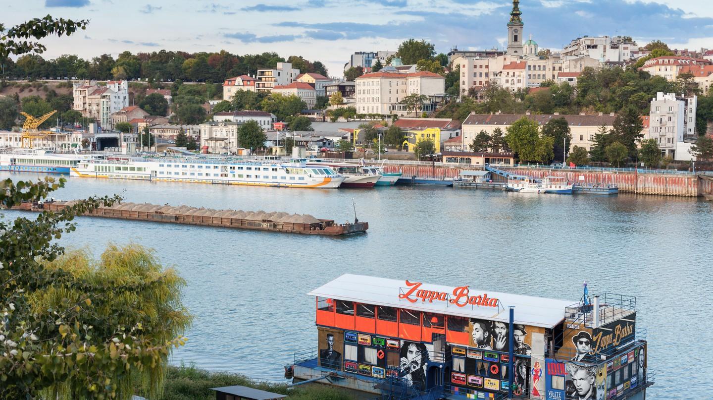 The Zappa Barka nightclub is moored on the Sava River